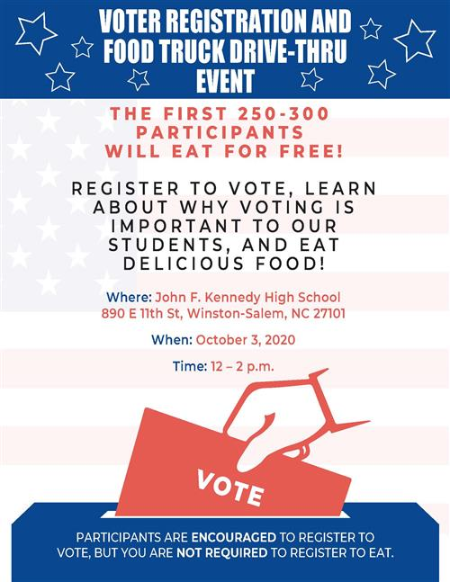 Kennedy Students Holding Voter Registration & Drive-Thru Food Truck Event