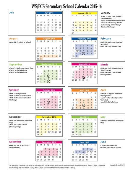 Wsfcs Calendar 2016 2020 Justice, Krista / A Day/B Day Calendar