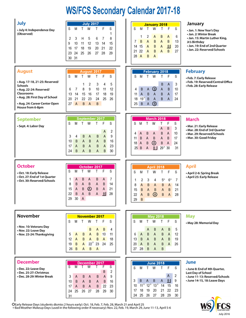 Schedules and Calendars / A Day/B Day Schedule