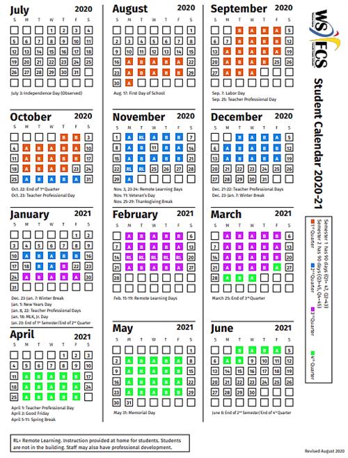 Wsfcs 2021 Calendar Schedules and Calendars / 2020 2021 A Day/B Day Schedule