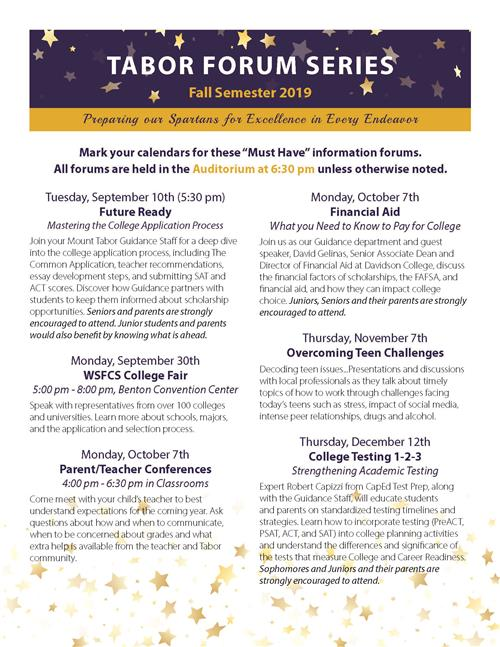 Tabor Forum Series Schedule Fall 2019