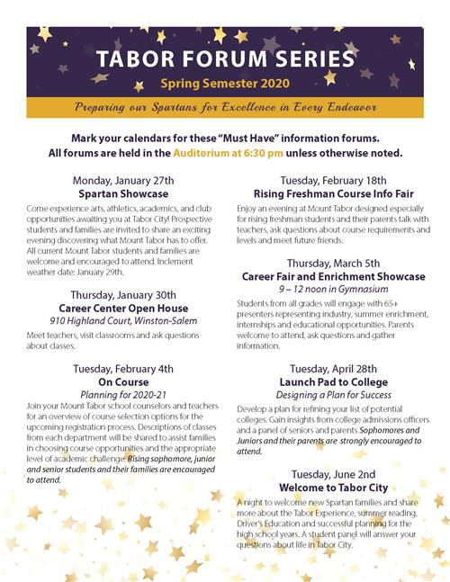 Tabor Forum Series Spring 2020 Schedule