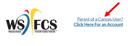 Image of the Canvas Parent Login screen where a new account can be created/accessed for parents