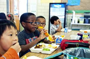 students in cafeteria