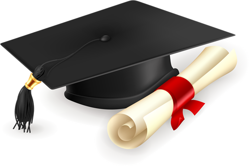 image of a graduation mortar board with scroll