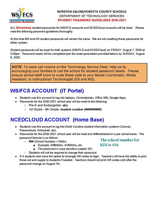 Student Password Guidelines English