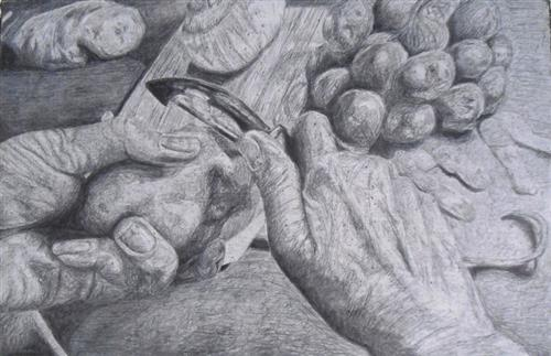 Cory Spencer - Concentration - Hands Scratchboard - Drawing 2015