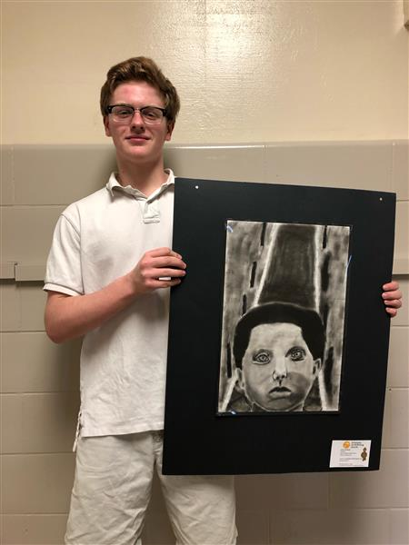 Congrats to Carter Andresen! 8th grade His art (well a copy) is on its way to be put in a frame for the superintendents office! It won him a gold key at scholastics as well as the Emerging Vision Award! Way to go Carter!