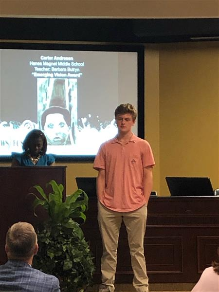 Carter Andresen was recognized by the school board for his scholastic art gold key and Emerging Vision Award . Congrats Carter!