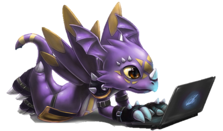 Dragon using laptop