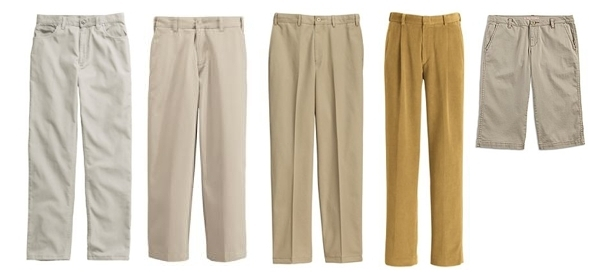 Examples of acceptable khaki colors