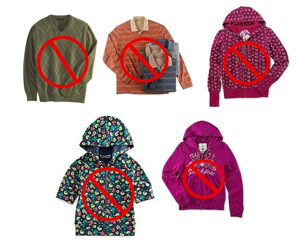 Examples of Inappropriate outerwear
