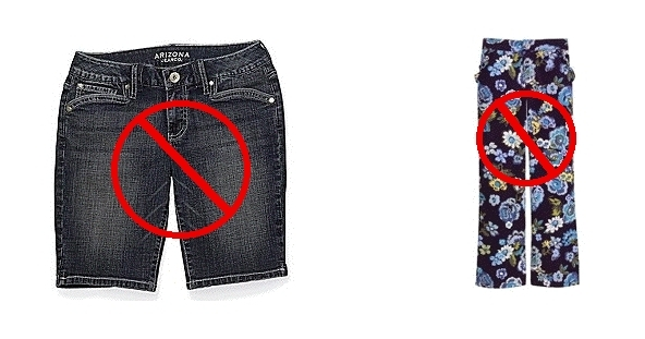 Denim Example and Other Innappropriate garment