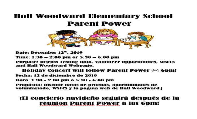 Hall Woodward Elementary School Parent Power