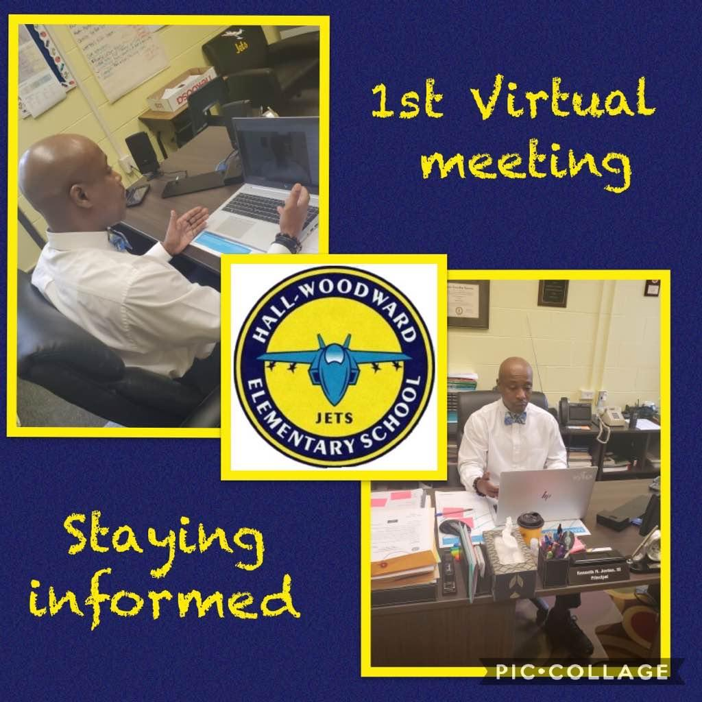 Check out Mr. Jordan leading Hall-Woodward's 1st Virtual Staff meeting!