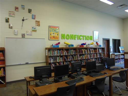 Media center, nonfiction section and computer lab