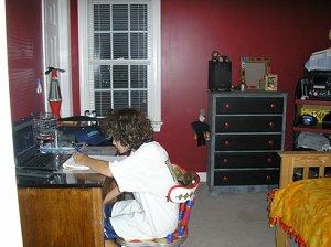 Mats doing homework