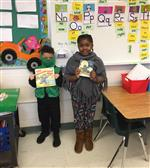 Two students as book characters