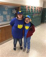 Ms Creech and a student as Paw Patrol characters