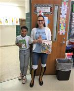 Ms Wilde and a student as a book character