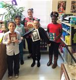 Mrs Smith and four students as book characters