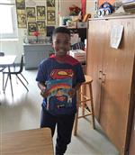One student as Superman book character