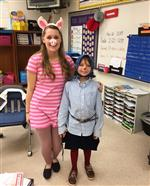 Ms Peters and one student as a book character