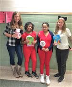 Ms Higgins and Ms Fulk with two students as book characters