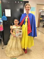 Ms Carter and a student as a book character