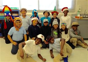 Some of Ms Walsh's 4th grade students in Crazy Hats