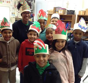 Ms Whitelock and some of her students in Crazy Hats