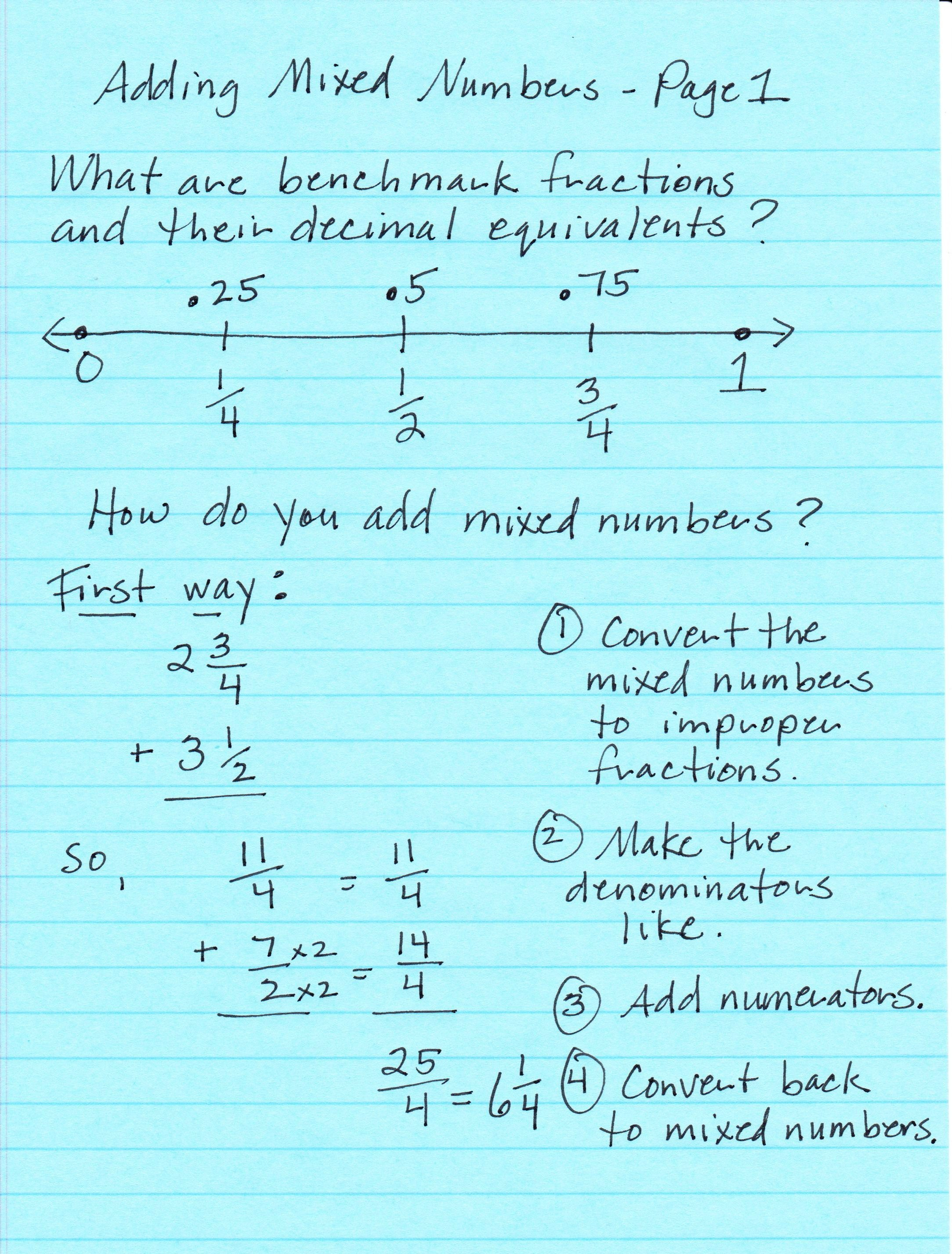 worksheet Adding Mixed Numbers mabb christina m class math notes adding mixed numbers page 1