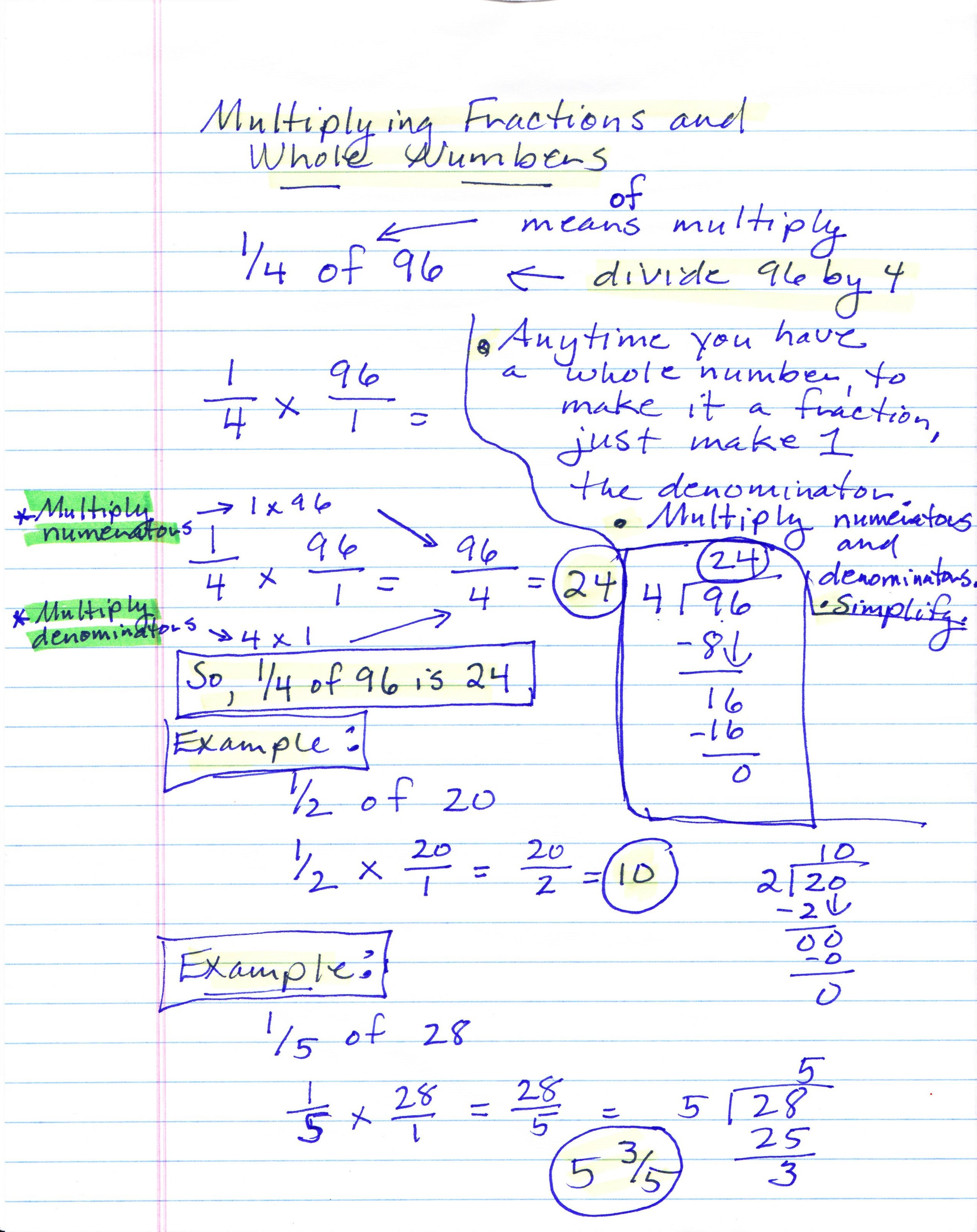 worksheet How To Multiply Fractions With Whole Numbers mabb christina m class math notes multiplying fractions by whole numbers