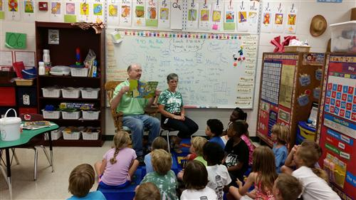 Mrs. Mowad and our Mystery Reader Mr. Mowad