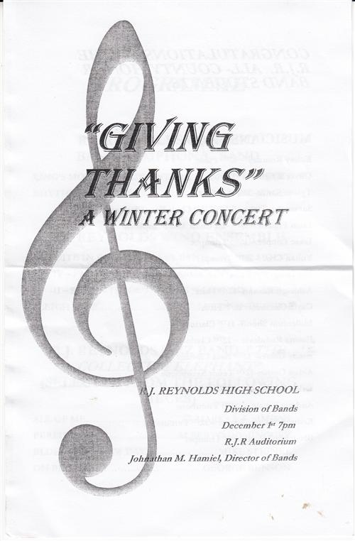 2016 FAll Bands Concert bulletin