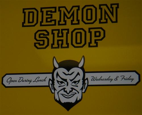 Demon Shop cafeteria sign