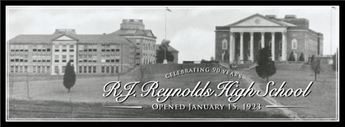 older picture of high school and auditorium