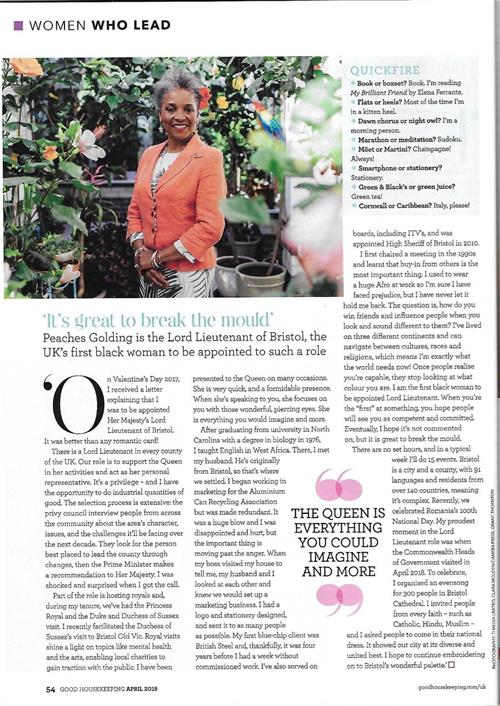 article about Peaches Golding