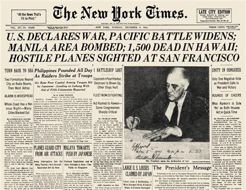 NY Times headlines about US entering World War II
