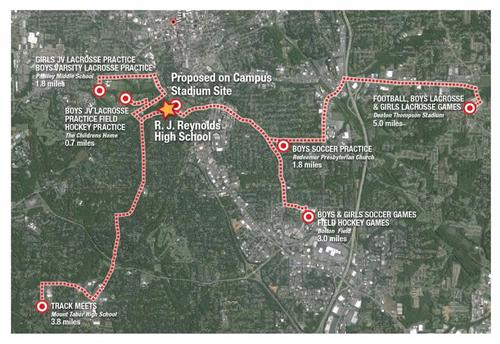 map of where several RJR athletic teams play & practice