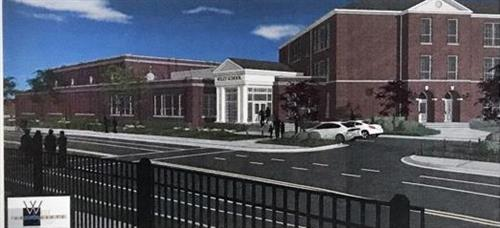 artist rendition of new entrance to Wiley Middle School