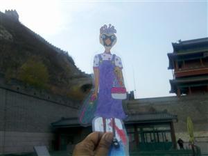 Carlita the Cardinal visits The Great Wall of China