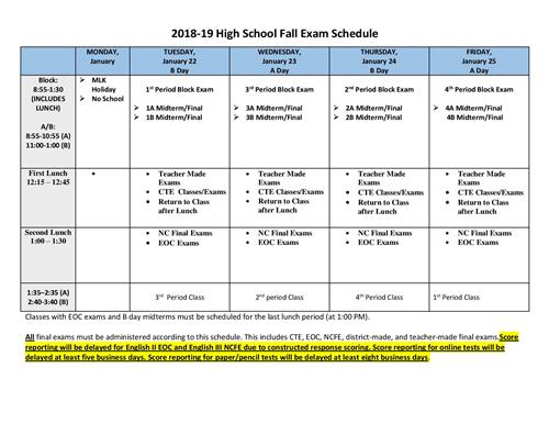 18-19 Fall Exam Schedule