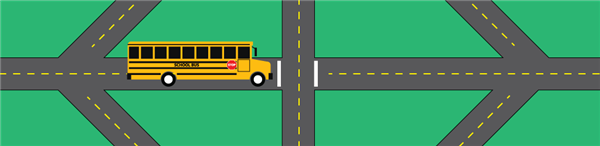 Cartoon image of bus driving down the road