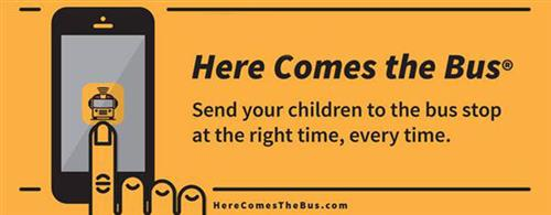 image of the updated here comes the bus info card banner