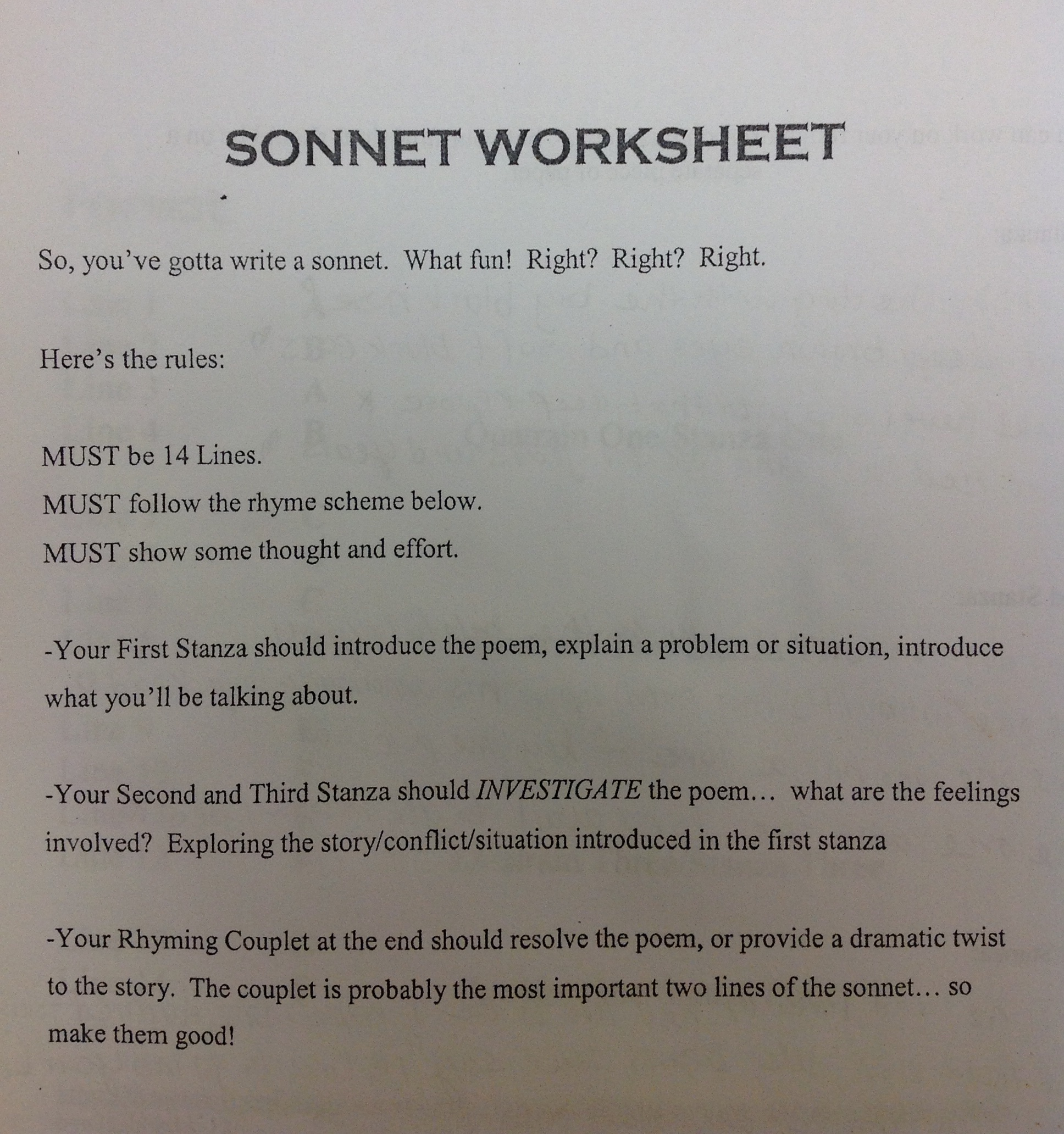 sonnet worksheet. Black Bedroom Furniture Sets. Home Design Ideas