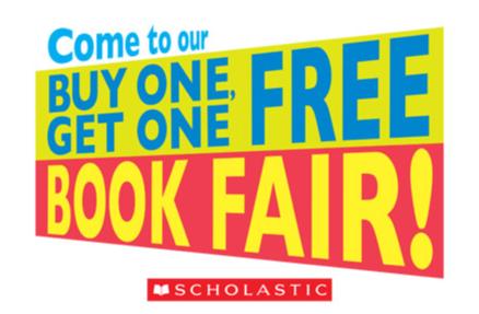 Buy One Get One Free Book Fair Logo