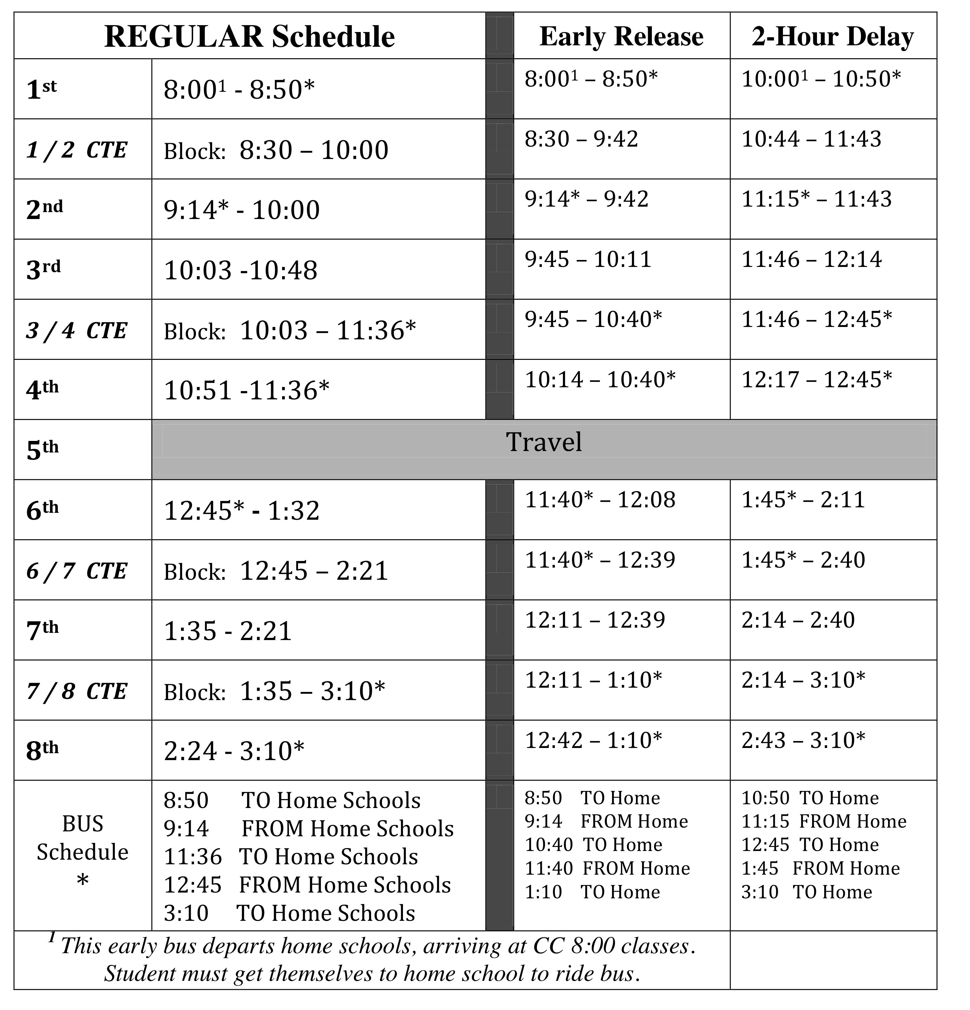 Student Handbook 2014 2015 Daily Schedule For Career Center