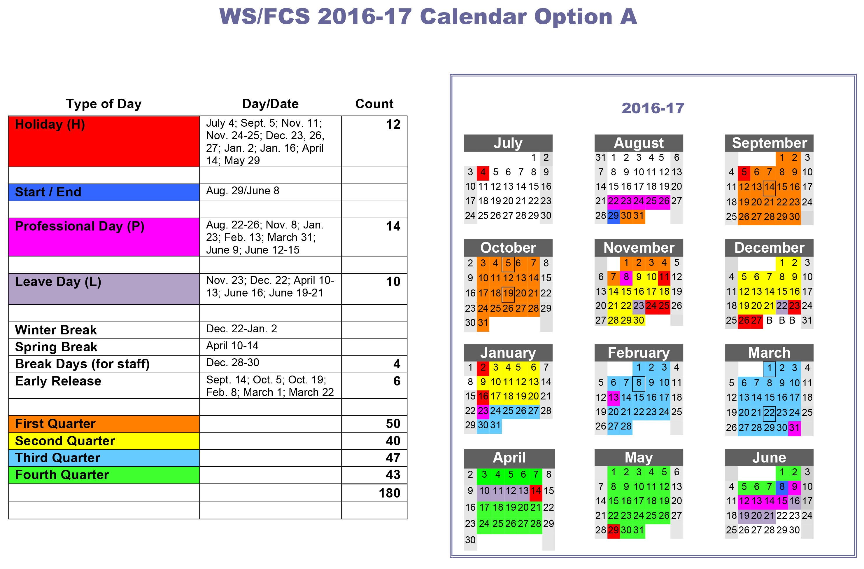 School calendars 2016/2017 as free printable Word templates